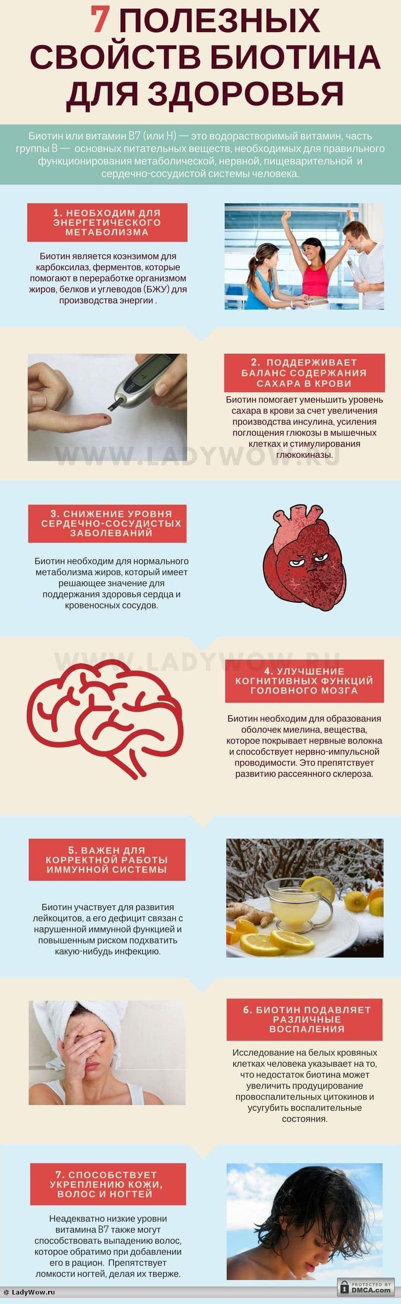Инфографика: 7 полезных свойств биотина для здоровья