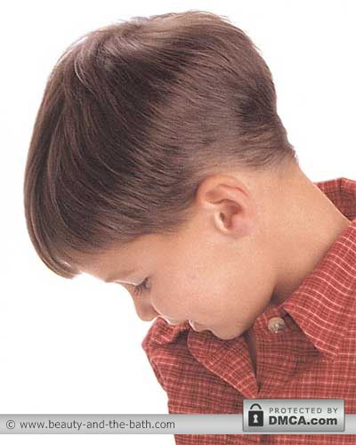 back view boys short comb down hairstyle