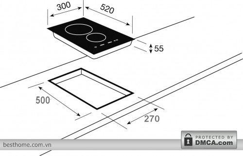 Kích thước lắp đặt bếp domino từ Teka IR 321