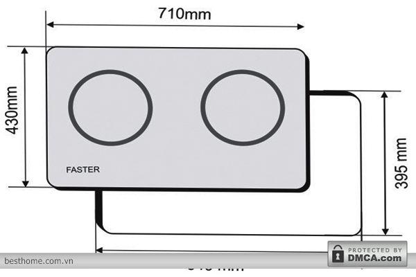 Kích thước lắp đặt Bếp từ đôi Faster FS-2S cao cấp